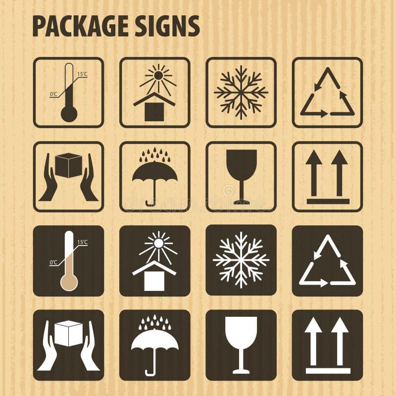 Wektor pakuje symbole na kartonowym tle Ikona ustawiająca wliczając kruchego, ten strona up, obchodzi się z opieką, utrzymuje suc ilustracja wektor