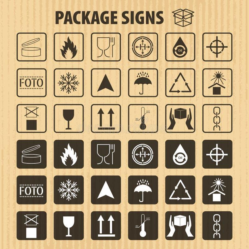 Wektor pakuje symbole na kartonowym tle Wysyłki ikona ustawiająca wliczając przetwarzać, kruchy szelfowy życie pro royalty ilustracja