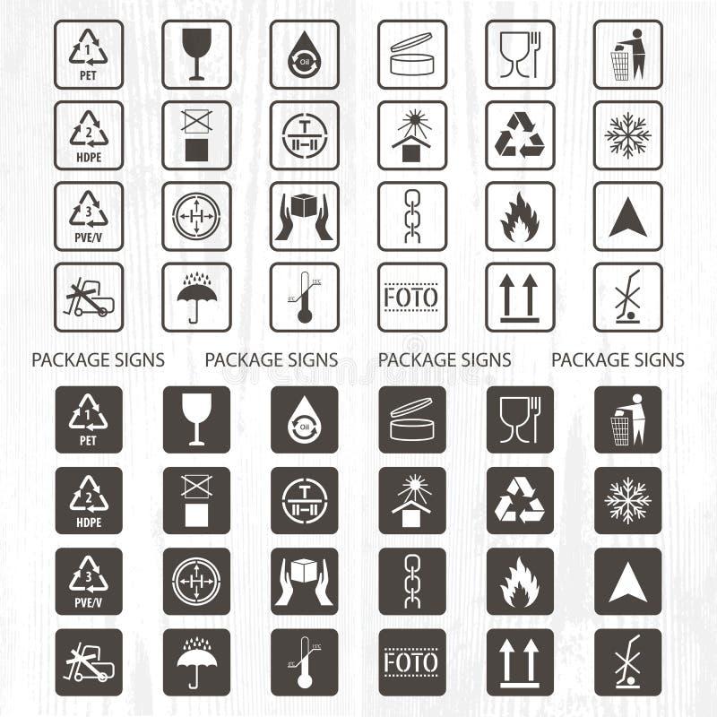Wektor pakuje symbole Wysyłki ikona ustawiająca wliczając przetwarzać, kruchy szelfowy życie produkt, flammable, atoksyczny sztur ilustracji