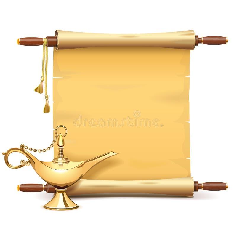 Wektor Papierowa ślimacznica z Magiczną lampą royalty ilustracja