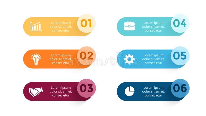 Wektor papierowe strzała infographic, sztandary diagramy, etykietki wykres, majcher prezentaci mapa Biznesowy pojęcie z 6 ilustracji