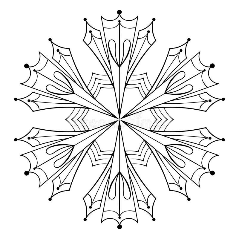 Wektor papierowej wycinanki śnieżny płatek w zentangle stylu, doodle czerń royalty ilustracja