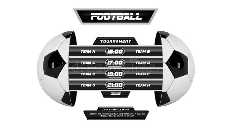 Wektor piłka nożna liga z drużynową rywalizacją i tablicą wyników odizolowywającymi na białym tle Futbolowy Biały sztandar Z 3d royalty ilustracja