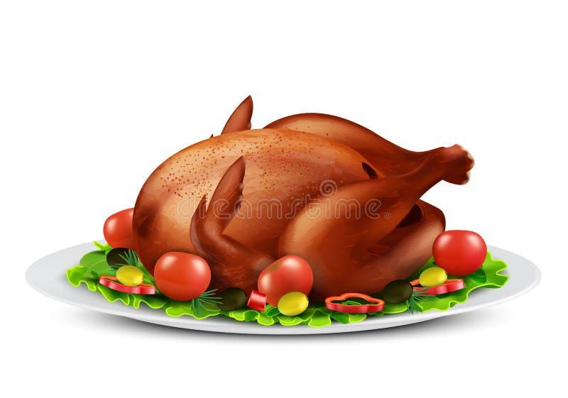 Wektor piec kurczak z warzywami lub indyk ilustracji