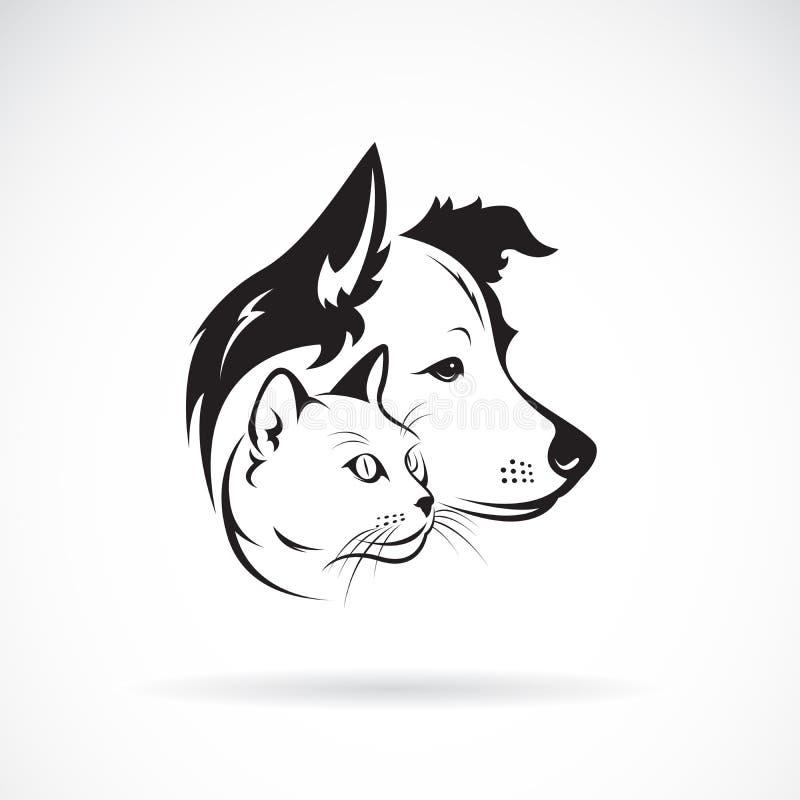 Wektor pies i kot głowy projekt na białym tle pet ilustracji