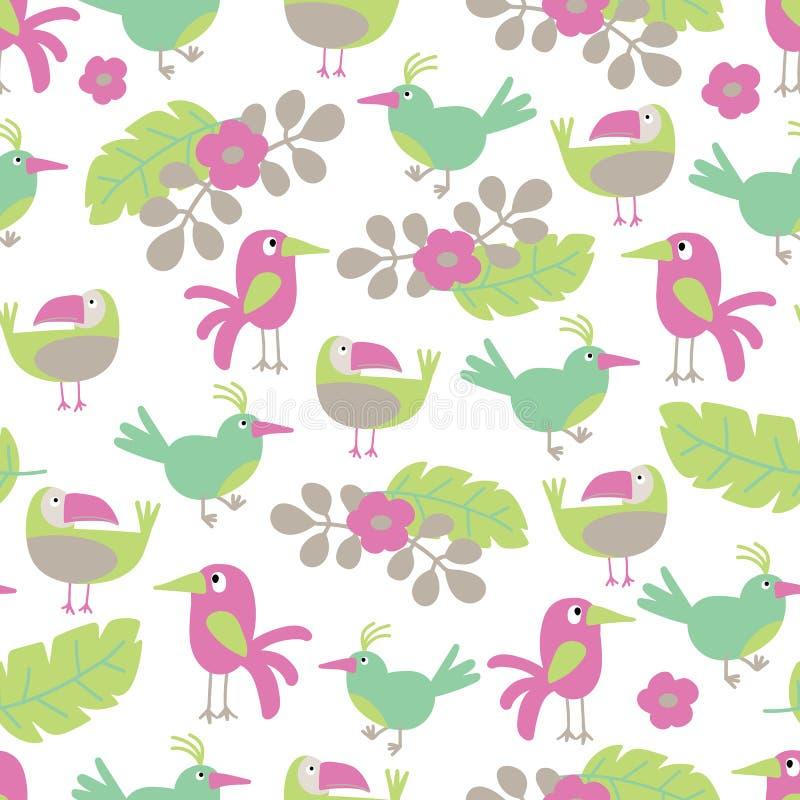 Wektor Plażowa rozochocona bezszwowa deseniowa tapeta tropikalni zieleni liście drzewka palmowe, kwiaty i ptaki bezszwowi, royalty ilustracja