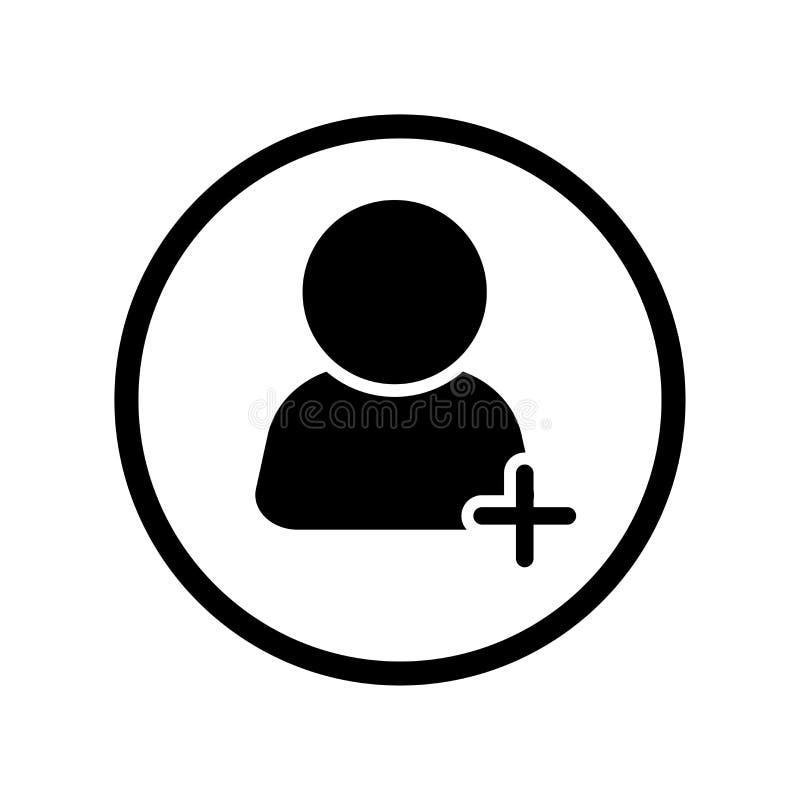 Wektor Plus użytkownik ikona w okrąg linii - wektorowy ikonowy projekt ilustracja wektor