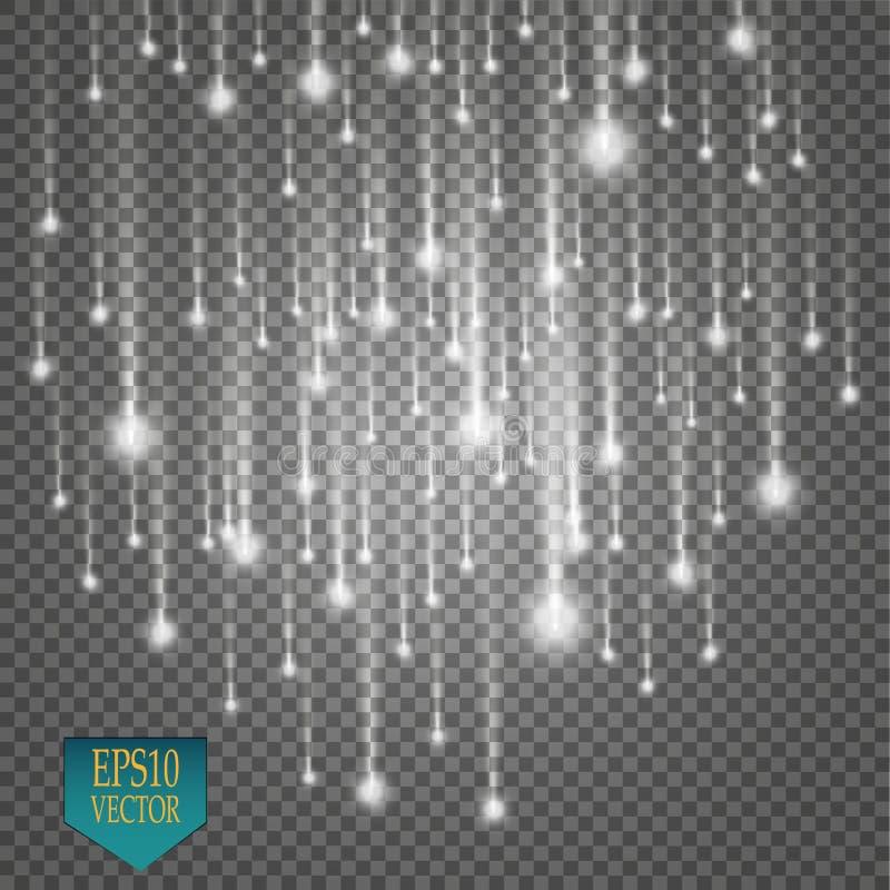 Wektor podeszczowe komety na przejrzystym tle światła pojęcie biel odosobniony magiczny Wektorowy biały błyskotliwości fala abstr royalty ilustracja