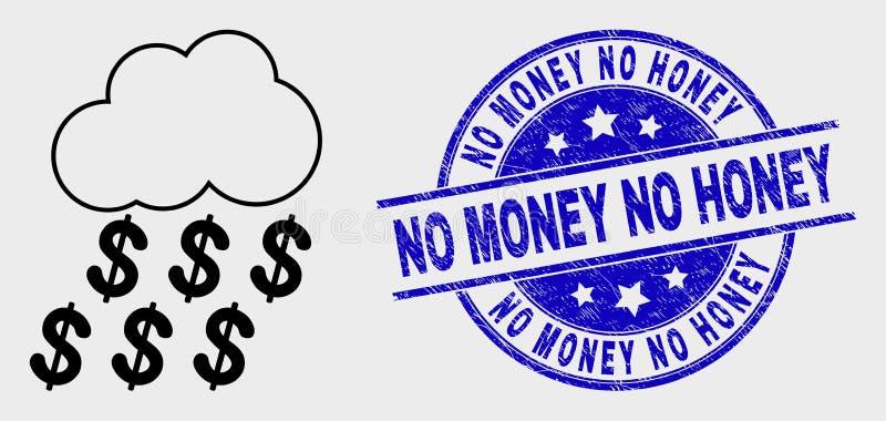 Wektor Podeszczowej chmury Kreskowa Dolarowa ikona i Grunge Żadny pieniądze Żadny Miodowy znaczek ilustracja wektor
