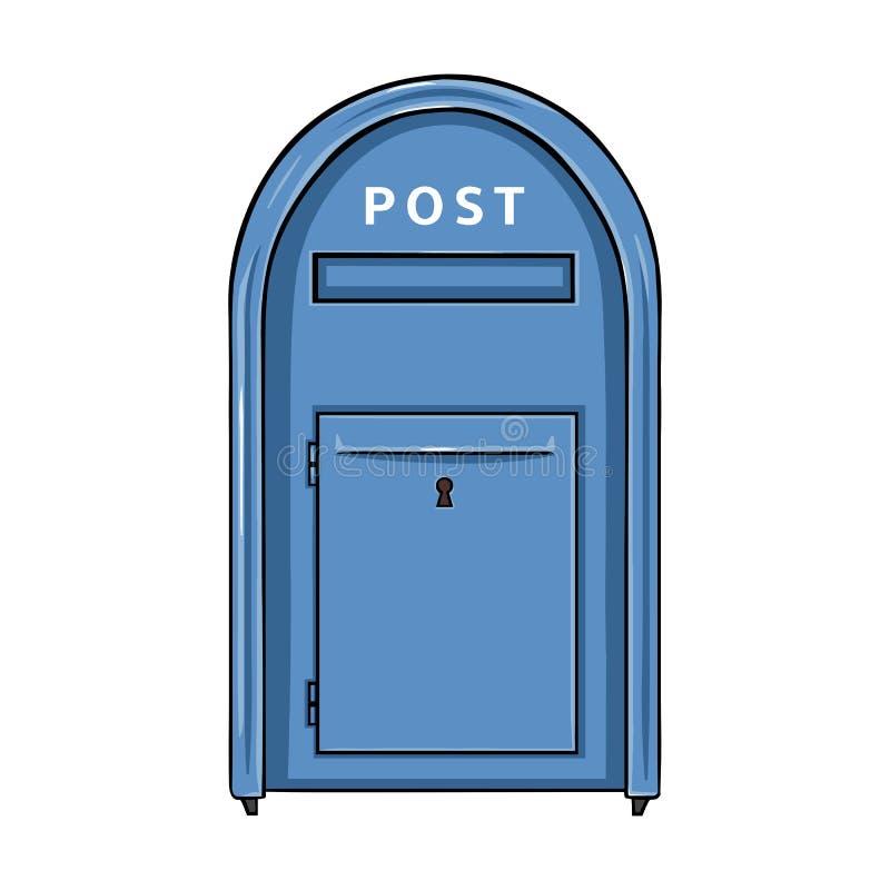 Wektor Pojedynczej kreskówki Błękitny Uliczny Postbox ilustracji