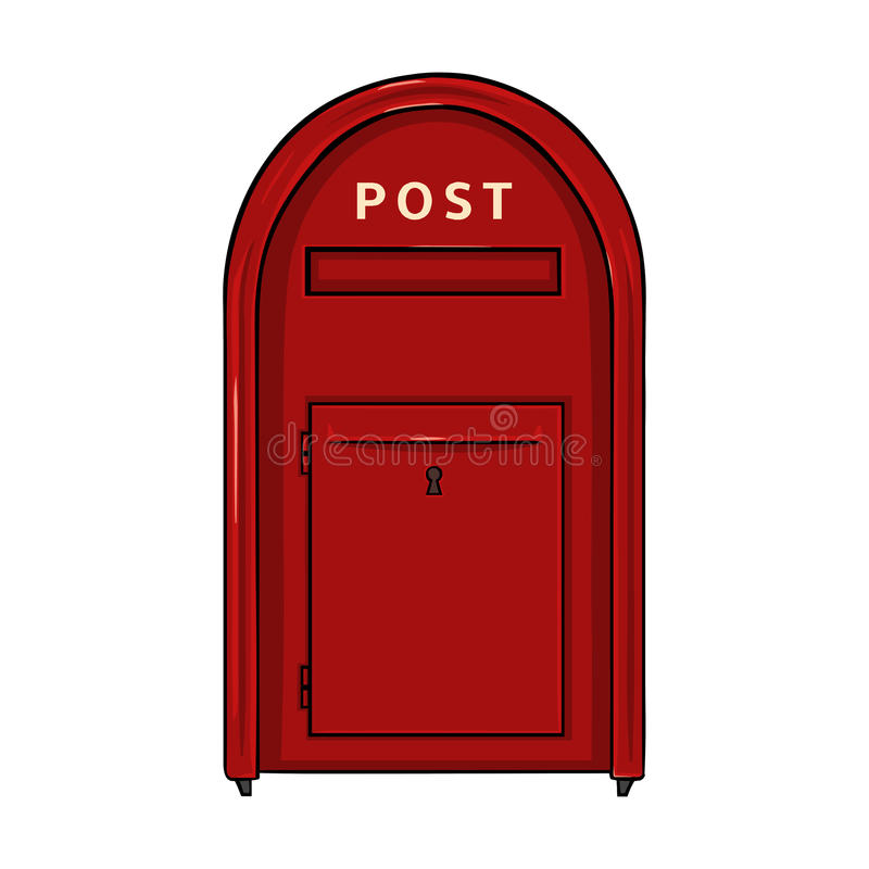 Wektor Pojedynczej kreskówki Czerwony Uliczny Postbox ilustracja wektor
