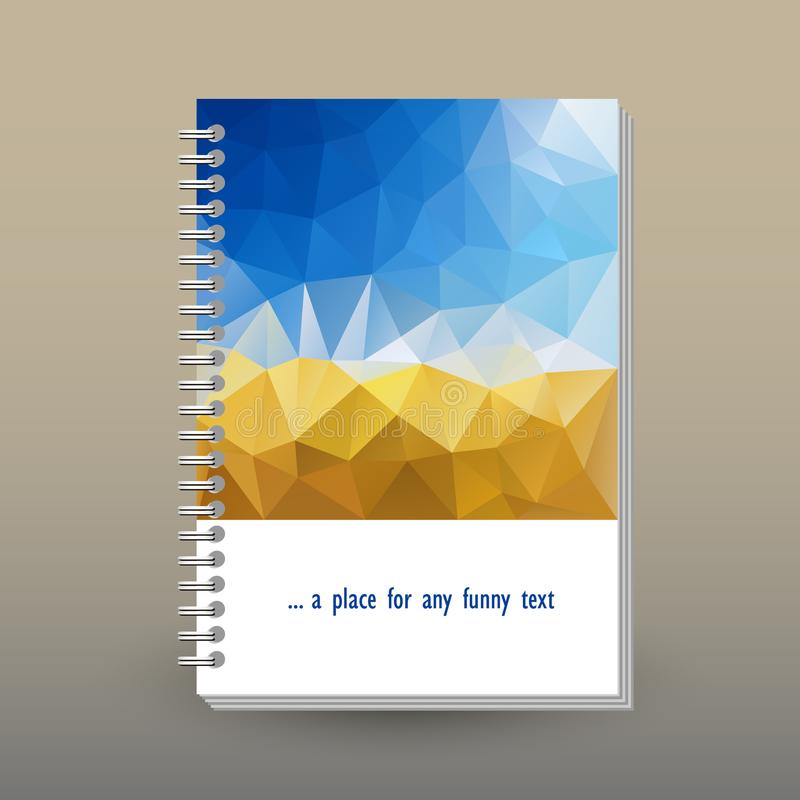 Wektor pokrywa dzienniczek z pierścionek spirali segregatorem układ broszurki pojęcie - niebieskie niebo nad żółtym żniwa col - f royalty ilustracja