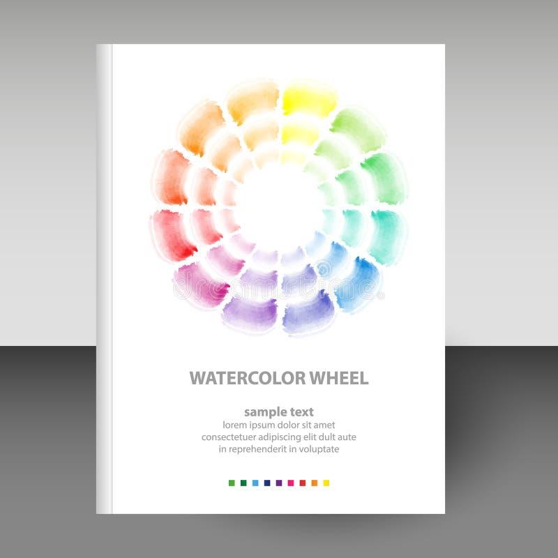 Wektor pokrywa dzienniczka biały hardcover akwareli round schemata koło - podstawowy colo - formata A4 układu broszurki pojęcie - ilustracja wektor