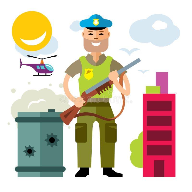 Wektor policja policjant Mieszkanie kreskówki stylowa kolorowa ilustracja royalty ilustracja