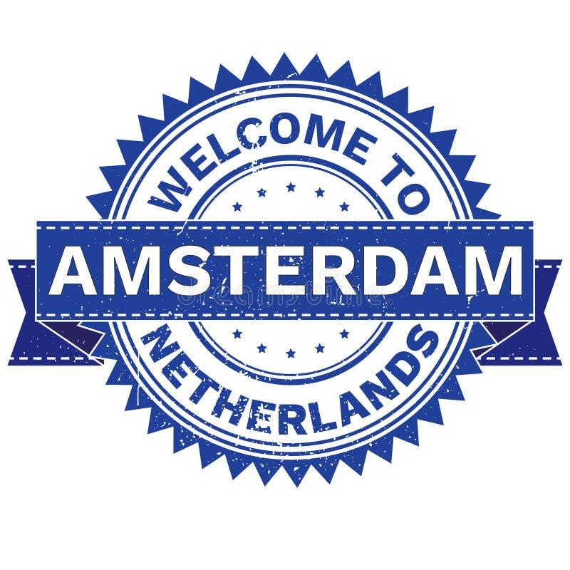 Wektor powitanie miasta AMSTERDAM kraju holandie znaczek majcher Grunge styl EPS8 ilustracja wektor