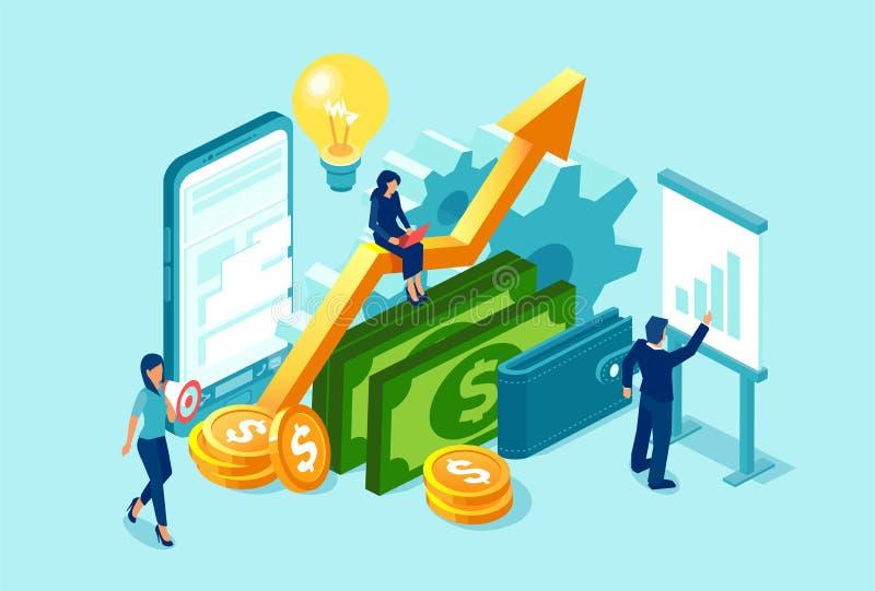 Wektor pracuje na pieniężnych dane dochodowości i analizie biznes drużyna ilustracja wektor