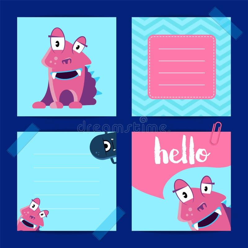 Wektor przyczepiał kwadratowe nutowe karty z ślicznymi potworami z literowaniem na zygzakowatym tle ilustracja wektor