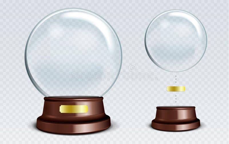 Wektor Pusta Śnieżna kula ziemska Biała przejrzysta szklana sfera na sta ilustracji