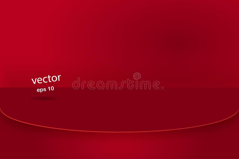 Wektor, Pustego żywego czerwonego koloru studia stołu izbowy tło, produktu pokaz z kopii przestrzenią dla pokazu zadowolony proje royalty ilustracja