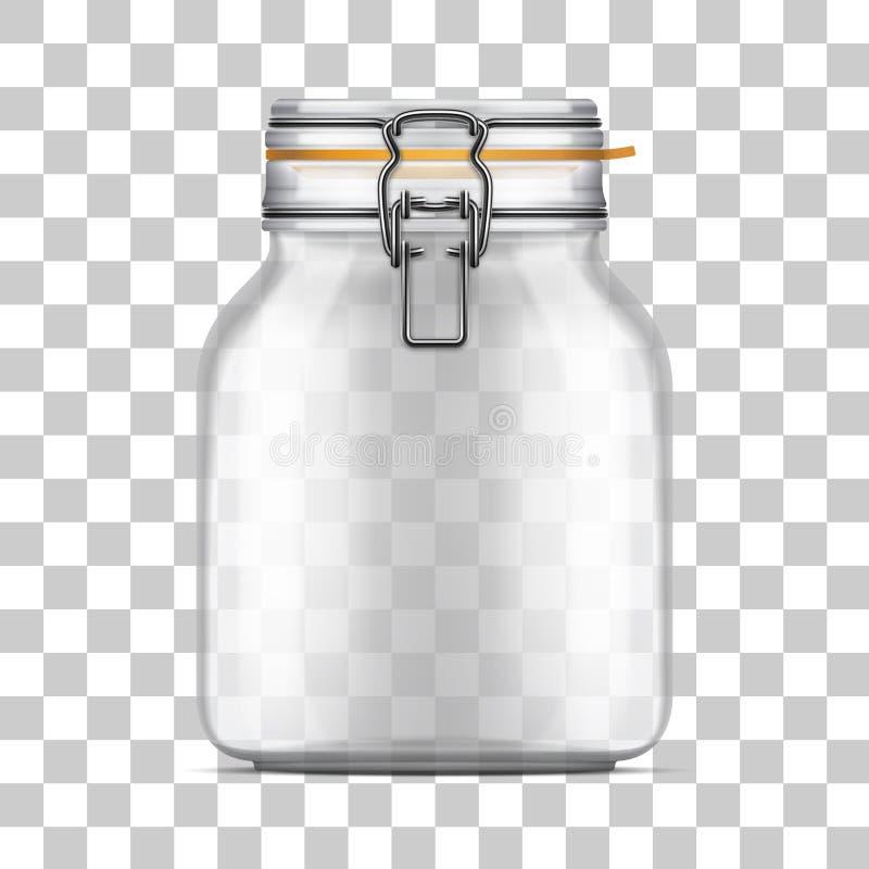 Wektor pustej beli Szklany słój z huśtawka wierzchołka deklem royalty ilustracja