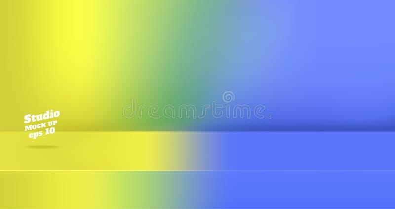 Wektor, Pusty neonowy żółty gredient żywego błękitnego koloru 3d studia stołu izbowy tło, produktu pokaz z kopii przestrzenią dla ilustracji