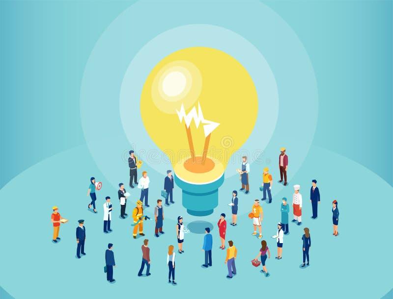 Wektor różnorodni ludzie brainstorming dużego pomysł ilustracja wektor