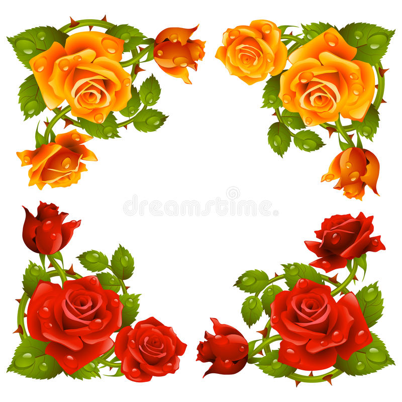 Wektor róży kąt odizolowywający na białym tle ilustracja wektor