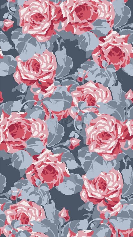 Wektor róży tapety bezszwowy vicrotian wzór dekoracyjny royalty ilustracja