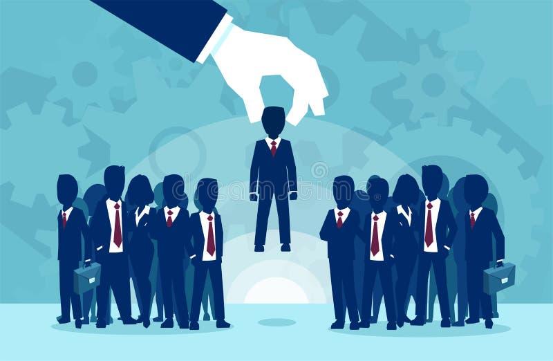 Wektor ręka podnosi pomyślnego kandydata biznesu osoby ilustracja wektor