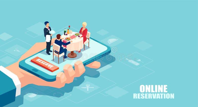 Wektor ręka trzyma smartphone z pary łomotać i kelner słuzyć stół ilustracji