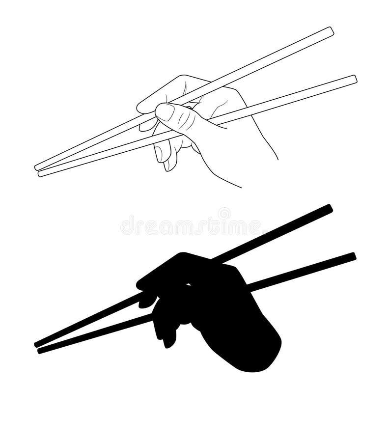 wektor Ręki mienia chopsticks kuchnia Oriental royalty ilustracja