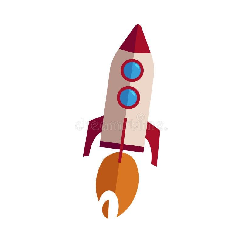 Wektor rakieta bierze daleko z ogieniem royalty ilustracja