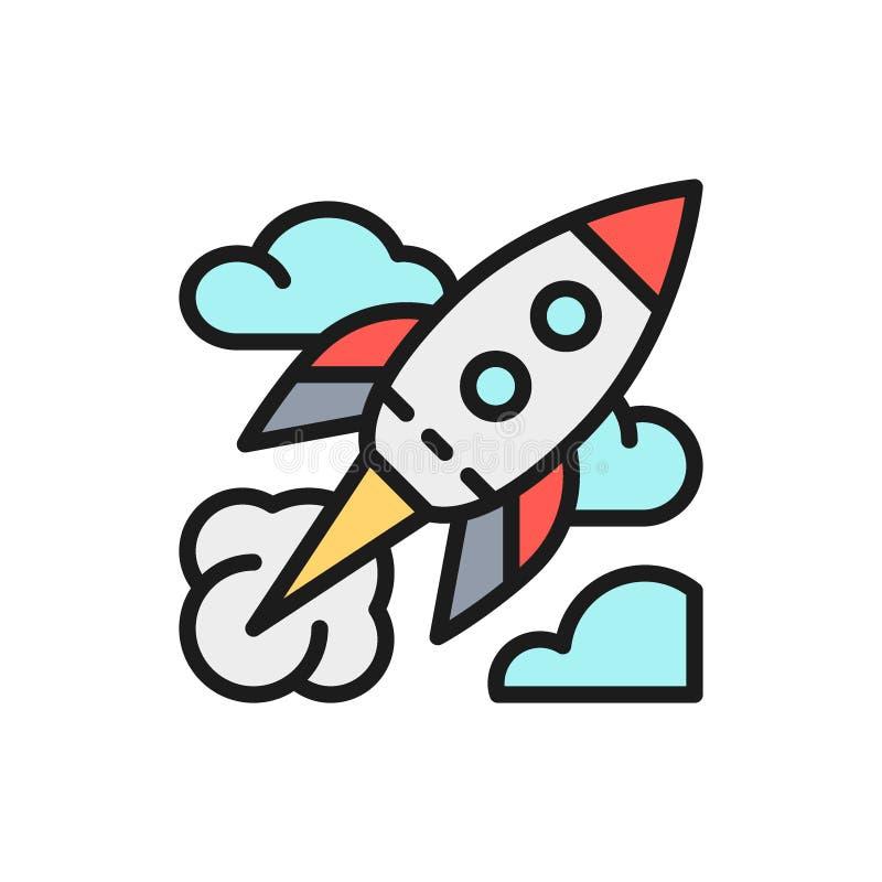 Wektor rakieta, początkowa płaska kolor linii ikona royalty ilustracja