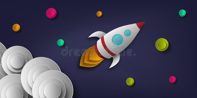 Wektor rakieta, przestrzeń, planety, gwiazdy, cięcie od papieru, 3d Używać dla plakatów, plakaty, pocztówki, sztandary, tła ilustracja wektor