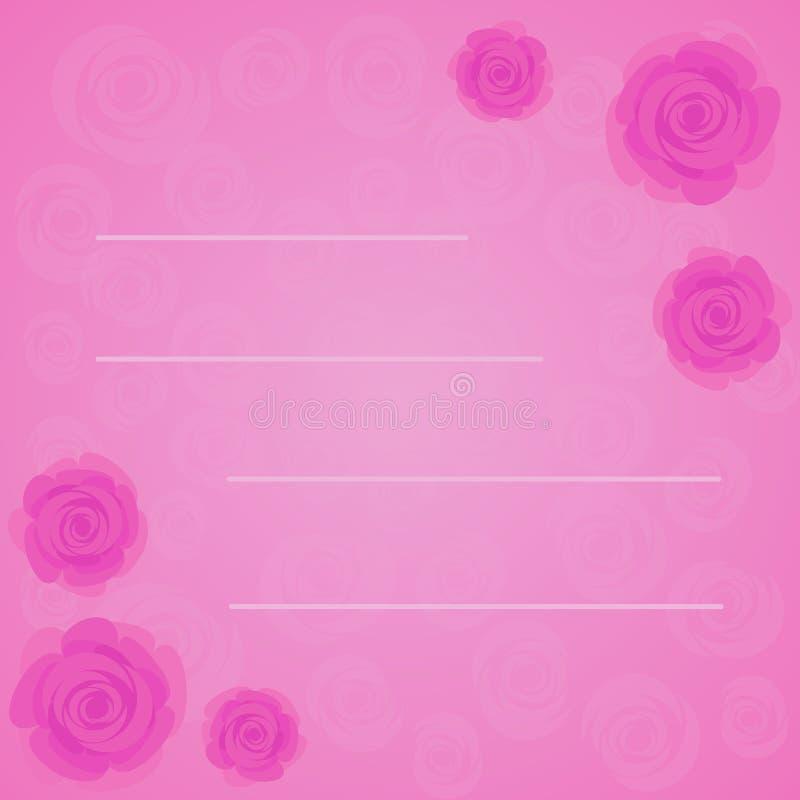 Wektor rama piękne różowe róże na gradient menchii tle z przejrzystą różową róży sylwetką Mieszkanie styl kwiaty ilustracja wektor