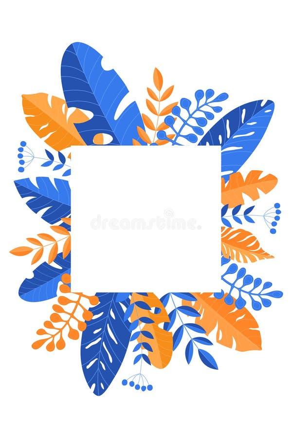 Wektor rama z kopii przestrzenią z kolorowymi liśćmi ilustracji