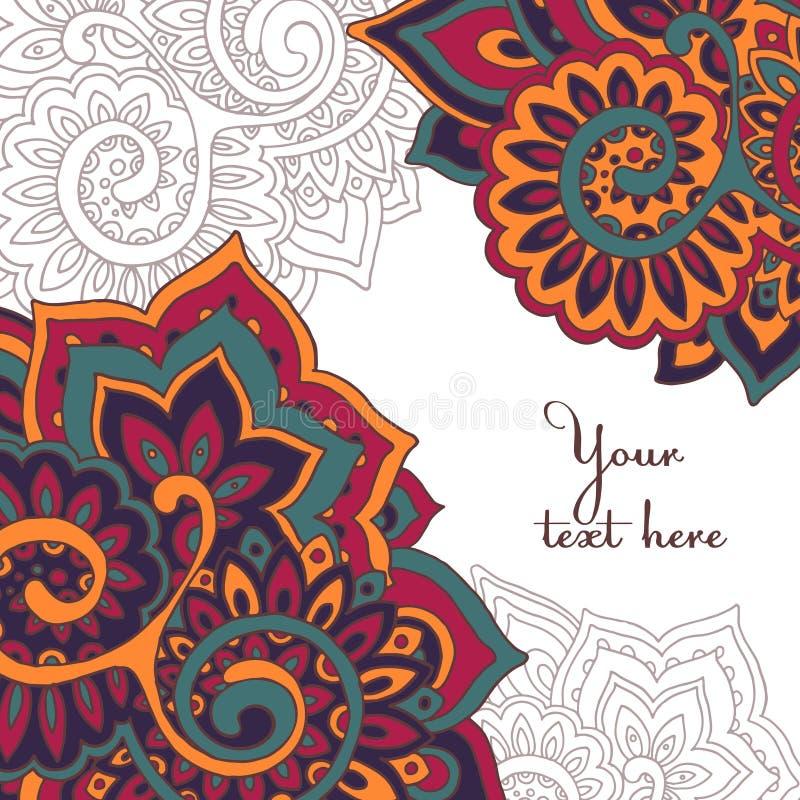 Wektor ramy wzór indyjski kwiecisty ornament ilustracji