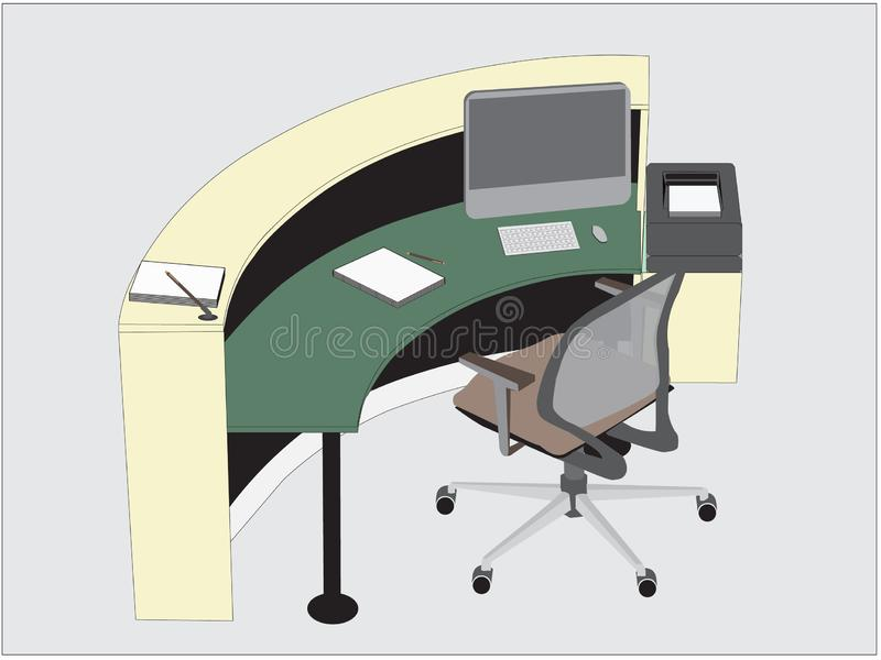 Wektor recepcyjny biurko i komputer royalty ilustracja