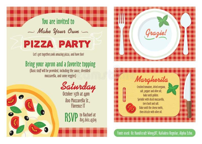 Wektor Robi Twój Swój pizzy przyjęcia zaproszenia setowi ilustracji
