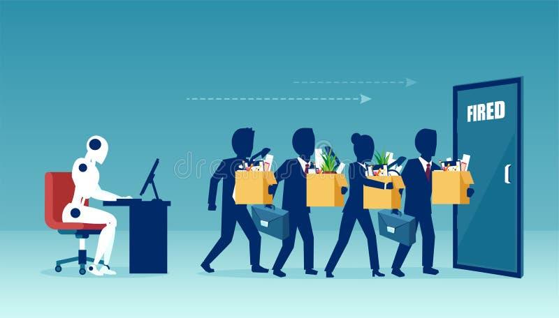 Wektor robota kierownik zamienia biznesmenów podpala ilustracja wektor