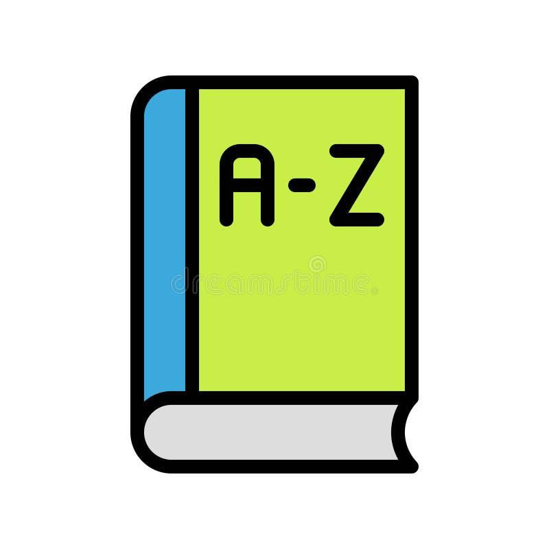 Wektor słownikowy, ikona projektu wypełnionego przez szkołę ilustracji