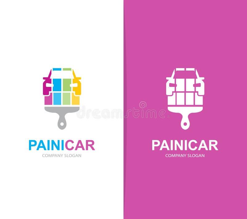 Wektor samochodu i muśnięcia loga kombinacja Samochód, paintbrush ikona i symbol lub Unikalny naprawy i samochodu logotyp ilustracja wektor