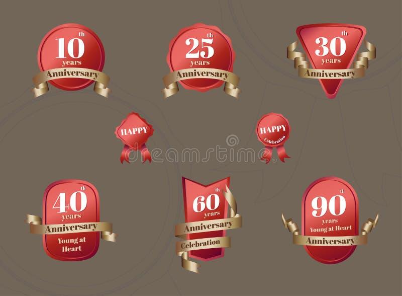 Wektor: Set Rocznicowa świętowanie odznaka w czerwieni i złocie ilustracji
