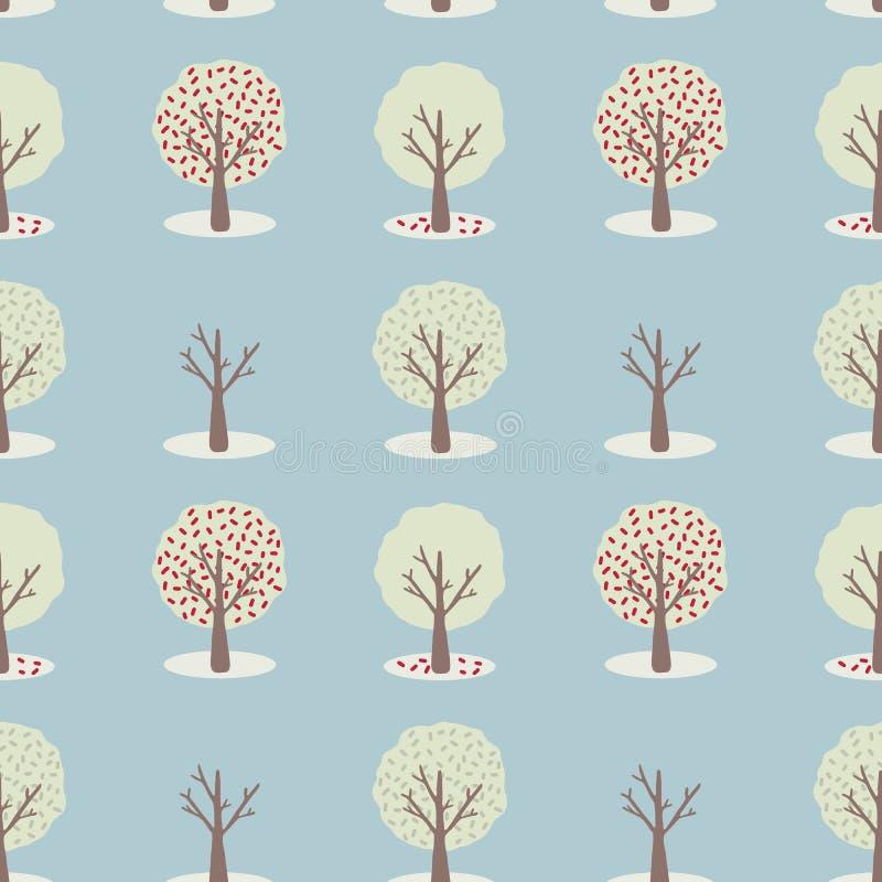 Wektor 4 sezonów drzewa set, Bezszwowy powtórka wzór ilustracji