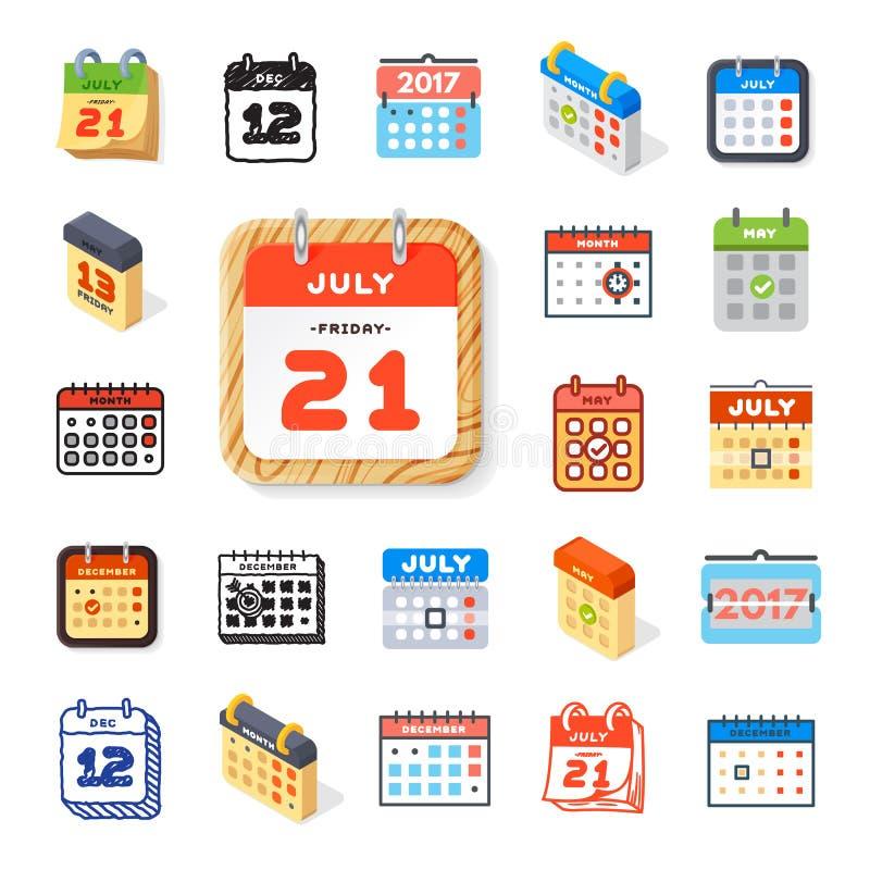Wektor sieci ikony kalendarzowy set ilustracji