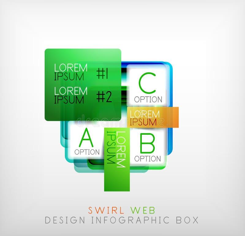 Wektor sieci projekta kwadratowi geometryczni kształtni pudełka ilustracji