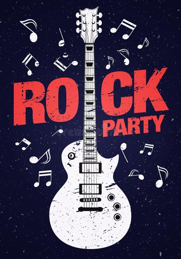 Wektor skały przyjęcia ulotki projekta szablon z gitarą i czerwonym nagłówkiem ilustracji