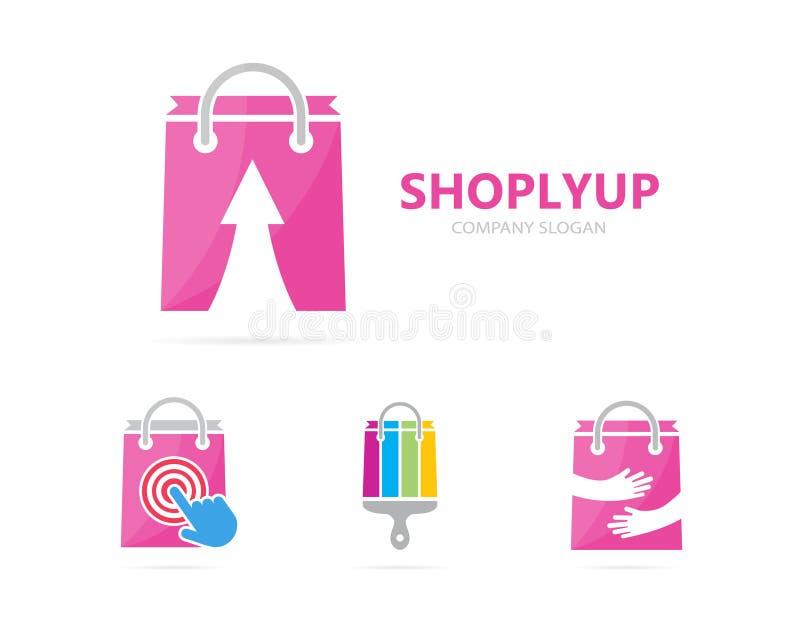 Wektor sklep i strzała w górę logo kombinaci Sprzedaż, przyrost ikona i symbol lub Unikalna torba i online logotypu projekt royalty ilustracja
