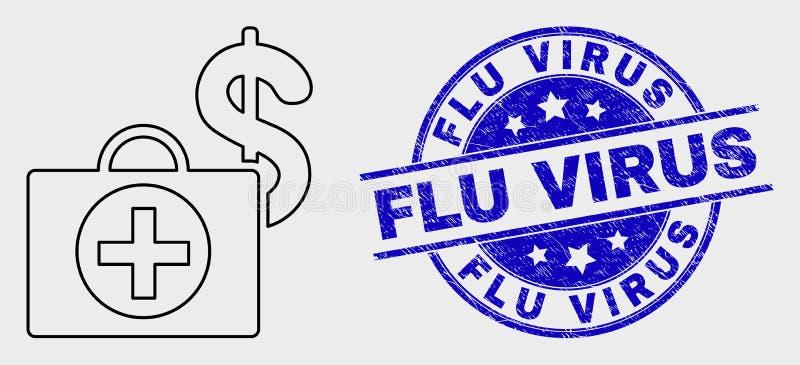 Wektor skrzynki ikony i Grunge wirusa znaczka Kreskowa Pieniężna Medyczna Grypowa foka ilustracja wektor