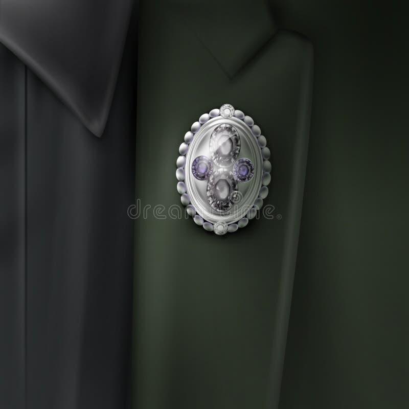 Wektor srebna broszka ilustracji